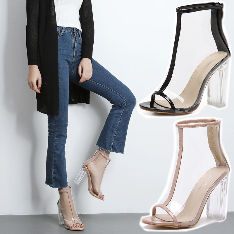 ee997b1dbc6 US $25.8 50% OFF|Women Clear Heel Transparent Boots Peep Toe Ankle Boots  Bootie Perspex Lucite Summer Shoes Sandals Block Heel Pumps-in Ankle Boots  ...