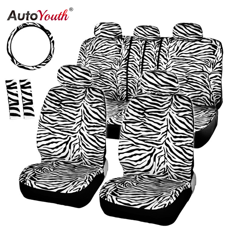 AUTOYOUTH Short Plush Luxury Zebra Seat Covers Universal Fit Most Car Seats Steering Wheel Cover Shoulder