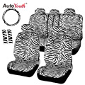 AUTOYOUTH Short Plush Luxury Zebra Seat Covers Universal Fit Most Car Seats Steering Wheel Cover Shoulder Pad White Seat Cover