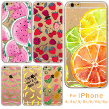 Hot Sale  Friunt Printed Case For iPhone 5 5s SE 6 6s 6P 6SPlus 4 4s Ultra thin Soft TPU Banana Watermelon Lemon Unique Styles
