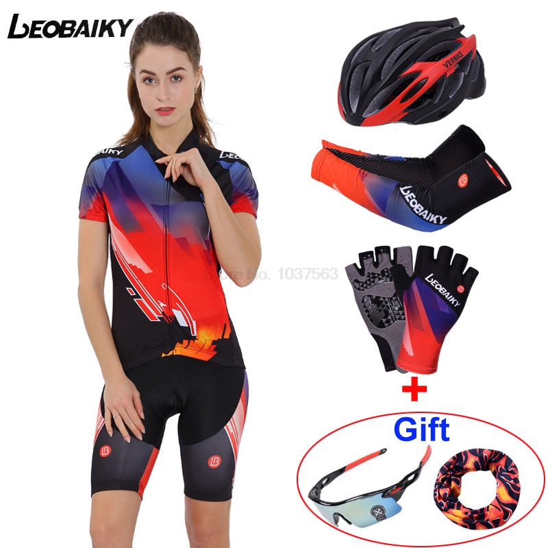 LEOBAIKY 2017 Pro Team Custom Cycling Sets Women Summer Breathable Cycling Clothing Short Sleeve Jersey Sets Gel Padded Shorts wosawe men s long sleeve cycling jersey sets breathable gel padded mtb tights sportswear for all season cycling clothings