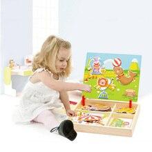 100+ шт деревянные Магнитные Головоломки, игрушки для детей, 3D головоломки, животные/транспортное средство/цирк/движение/соответствие чертежной доски, Обучающие деревянные игрушки