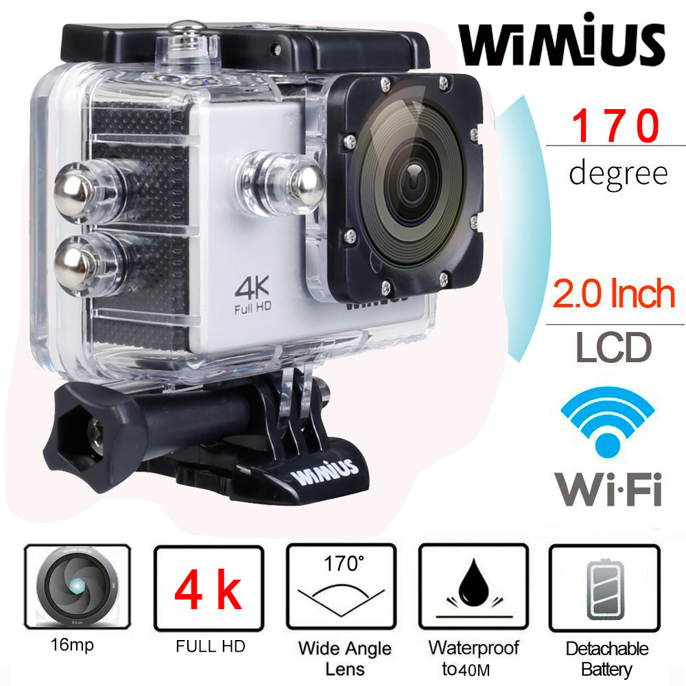 """Prix pour Wimius 4 K Wifi Action Camera 2.0 """"LCD Full HD 1080 P 60fps casque Sport Mini DV 170D Lentille 40 M Étanche Plongée Camara Deportiva"""