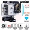 "Wimius 4 k wifi acción cámara 2.0 ""lcd full hd 1080 p 60fps 170D Lente casco de Los Deportes Mini DV 40 M Impermeable de Buceo Camara Deportiva"