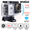 "Wimius 4 k wifi action camera 2.0 ""lcd full hd 1080 p 60fps capacete Lente 170D 40 M Mergulho À Prova D' Água Esportes Mini DV Camara Deportiva"
