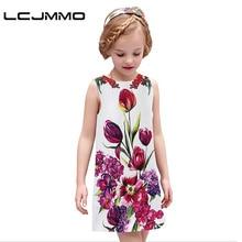 LCJMMO High quality girl dress New 2016 summer brand toddler kids sleeveless flower party wedding dress children clothing