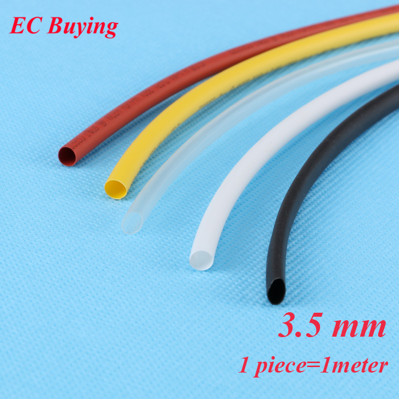 1m /pcs 3.5mm Heat Shrink Tubing Wire Wrap Heat-Shrink Tube 2:1 Thermo Jacket  Insulation Matierial Black White Yellow Clear Red