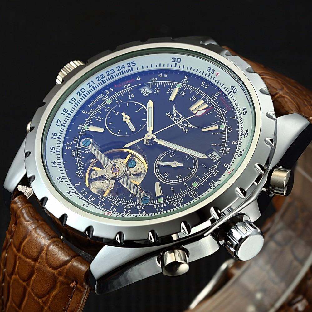 Jaragar mężczyźni zegarki sukienka na rękę zegarki mechaniczne automatyczne latanie Tourbillon zegarki Relogio Masculino z pudełkiem w Zegarki mechaniczne od Zegarki na  Grupa 1