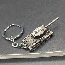 Fashion Game WOT World Of Tanks Keychain Men Vintage Silver Tank Key Chain Bag Charm Key Ring Male Souvenir Gift Jewelry Trinket(China)