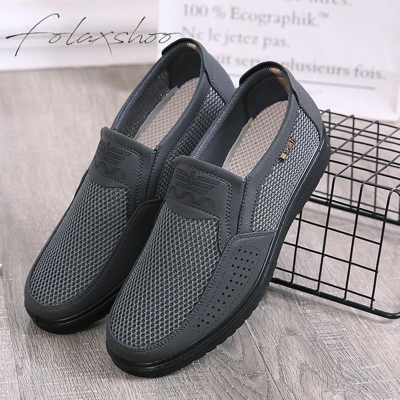 Foncé kaki on Maille Plus Noir Mode Respirant Chaussures Taille La Confort Folaxshoo Fitness Homme Slip Marche gris Mocassins De FBTwSHqU