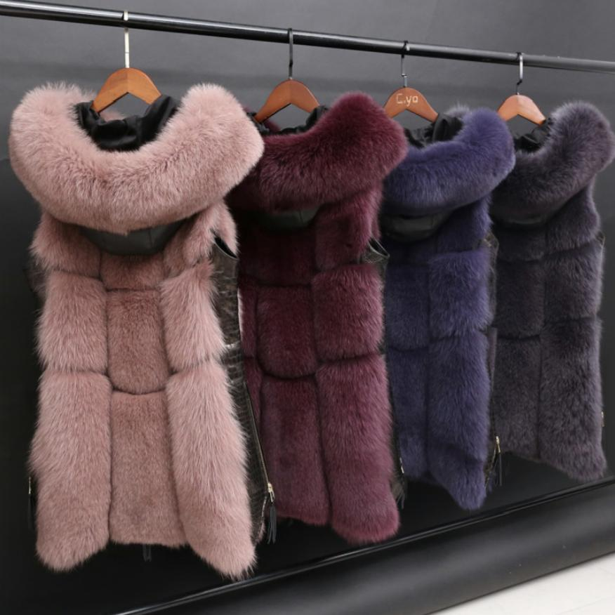 Winter Women's Fur Jacket Faux Fox Fur Vest Coat Fashion Hooded Fur Waistcoat Side Zipper Stitching Leather Warm Outwear Wq809