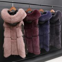Winter Women's fur Jacket Faux Fox Fur Vest Coat Fashion Hooded Fur Waistcoat Side Zipper stitching leather Warm Outwear wq809