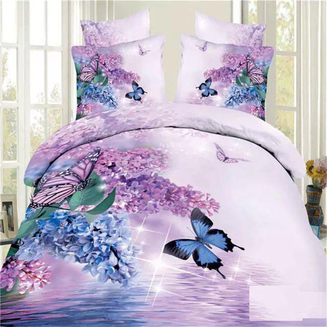 EsyDream Home Purple Floral Butterfly Bedding, 4pc 100% Cotton Wedding  Duvet Cover,King