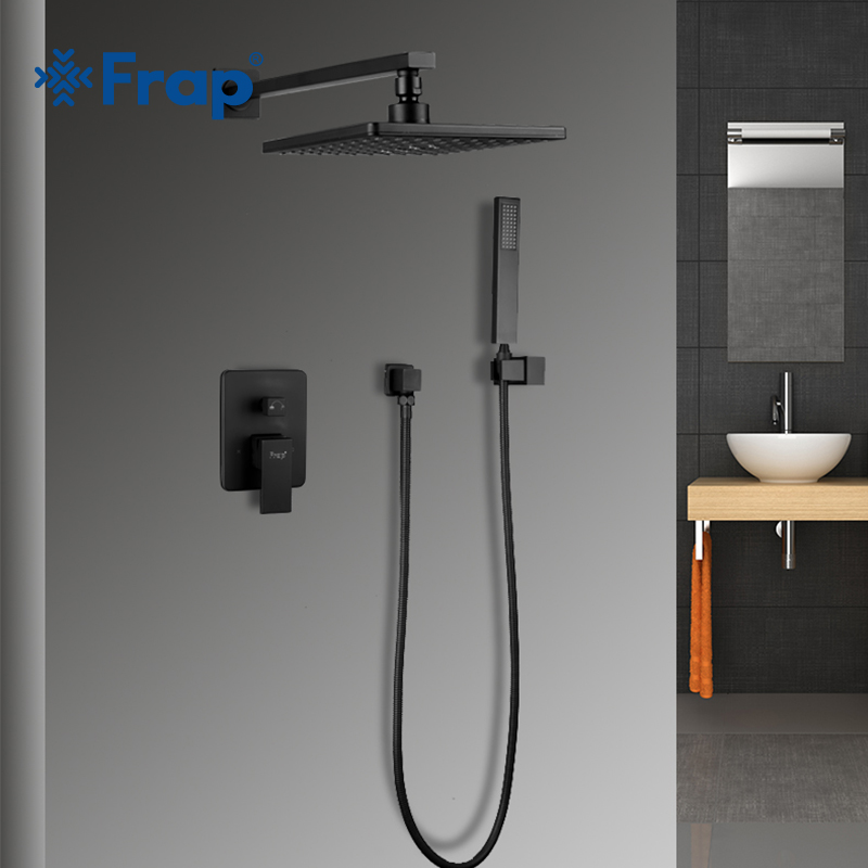 FRAP Carré salle de bains robinet de douche sy tem en laiton ensemble noir précipitations douche mitigeur baignoire robinet cascade De Bain Douche Y24023