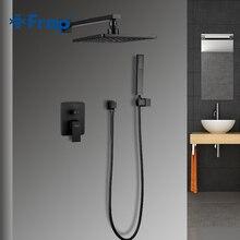 FRAP kare banyo duş musluk sy sıcaklık pirinç seti siyah yağış duş musluk bataryası küvet musluk şelale banyo duş Y24023