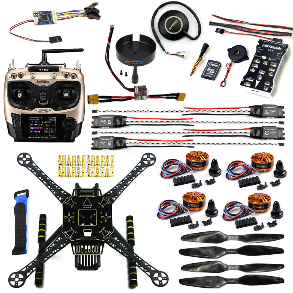 DIY FPV Drone Kit Welded S600 4 axis Aerial Quadcopter Unassembled w/ Pix2.4.8 Flight Control GPS 7M 40A ESC 700kv Motor AT9S