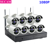 SUCAM Plug And Play 8CH NVR Wireless CCTV System 1080P H 264 IP66 Mini Home Security