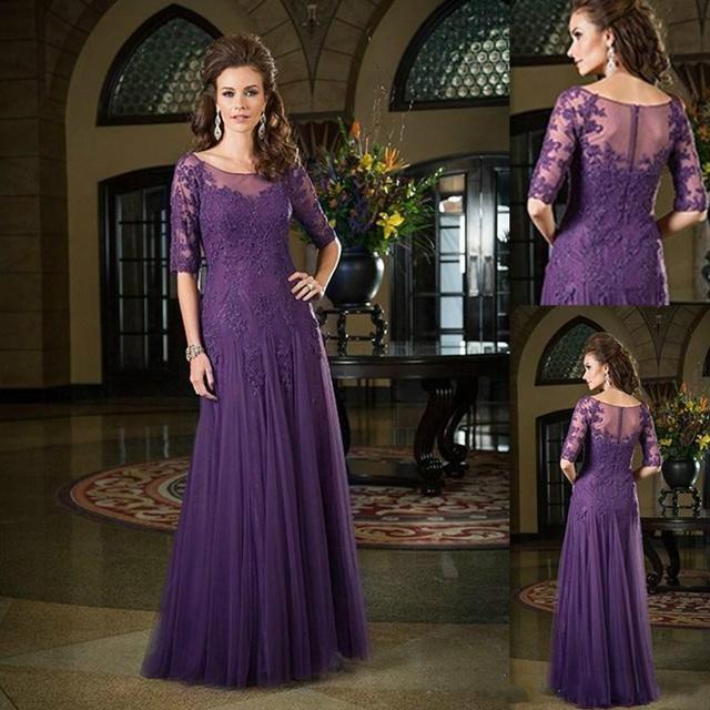 Vestido De Festa Hot Sell Formal Gowns Half Sleeves Dark Purple Applique  Floor Length Mermaid Lace Evening Dresses Long 2019 bc28f1374416
