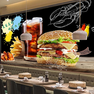 Image 2 - Custom Photo Wall Paper Self adhesive Wall Sticker Restaurant Cafe Burger Shop Wall Decoration Poster Mural Papel De Parede 3D