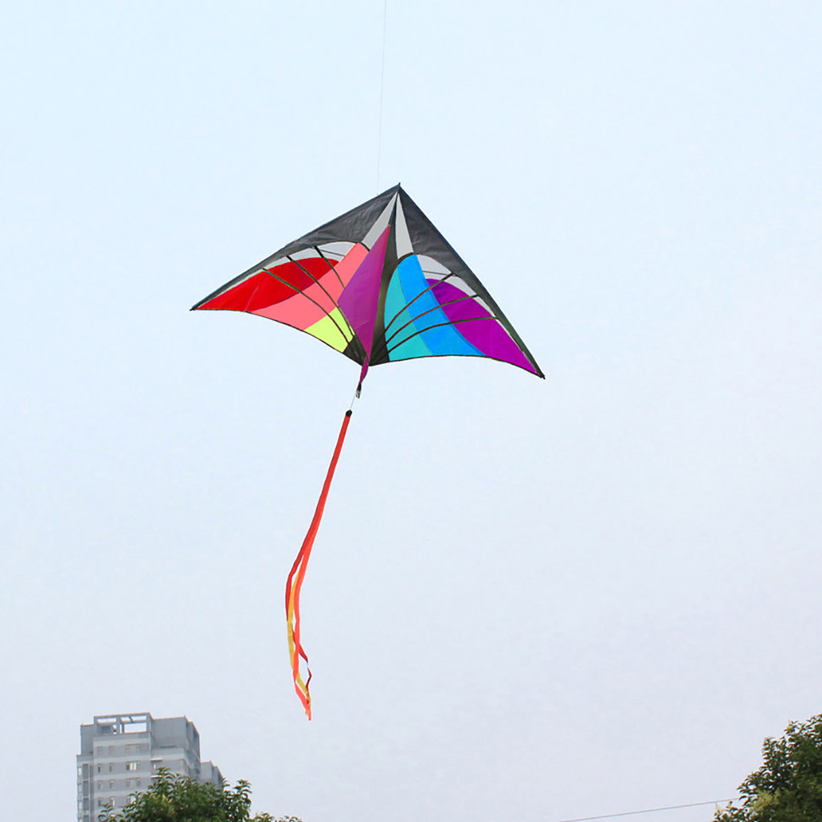 Multicolor Outdoor Sports Fun Toys Single Line Delta Triangle Long Tail Kite New Soft Flying Toys For Children Kids Family Tool