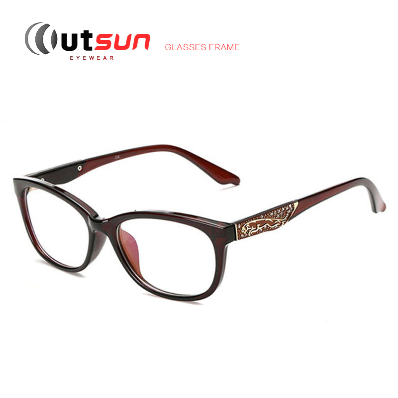 outsun high quality eye frames fashion myopia glasses cat eye frames unique eyeglasses retro women designer