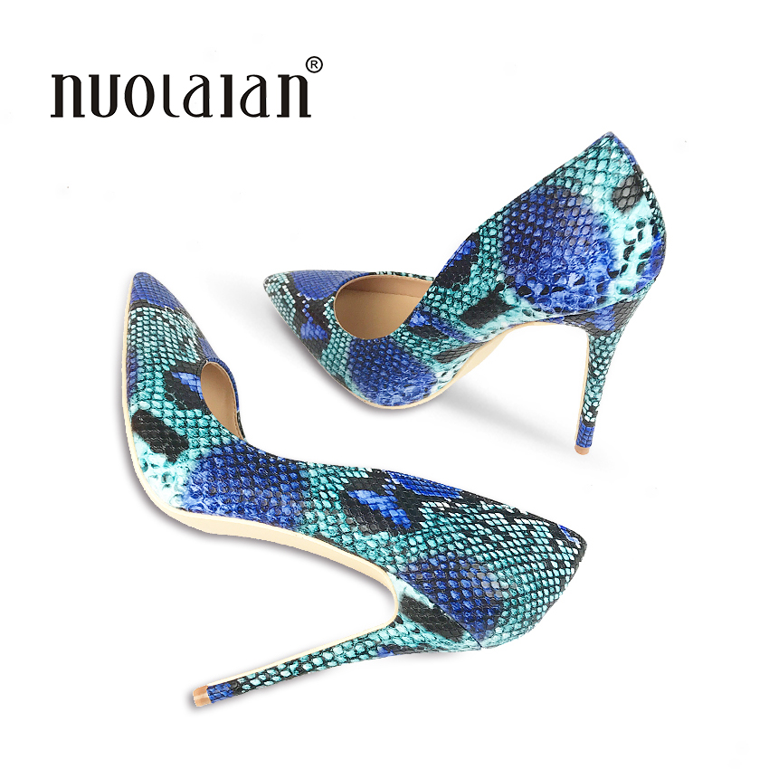 2018 Brand fashion Women Shoes Blue Snake Printed Woman Shoes Sexy Stilettos High Heels 12cm Pointed Toe Women Pumps