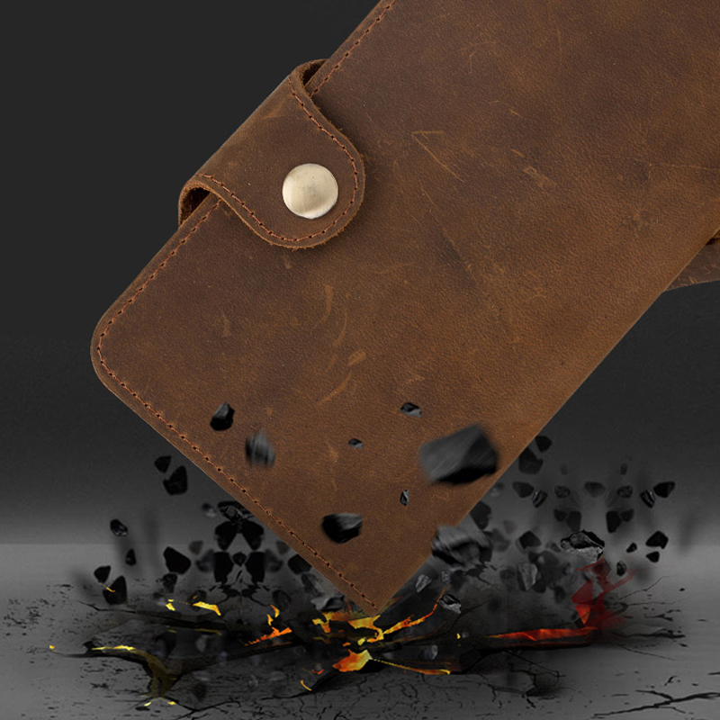 Genuine Leather Phone Case For Huawei P8 P9 P10 P20 Mate 9 10 Lite case Crazy horse skin Flip cases For Honor 7X 8 9 10 P Smart in Flip Cases from Cellphones Telecommunications