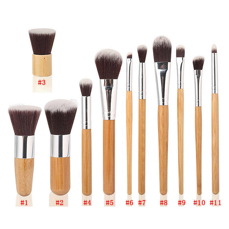 Hot 11pcs Natural Bamboo Handle Makeup Brushes Set High Quality Foundation Blending Cosmetic Make Up Tool Set With Cotton Bag