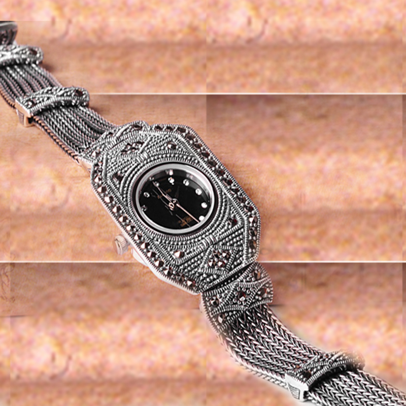 Jade anjo prata esterlina luxo vintage relógio