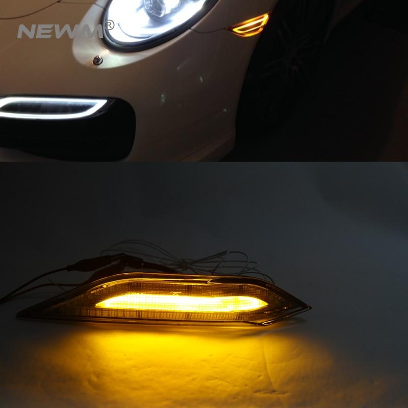 2x Amber white LED Side Marker Lights drl Signals For Porsche For Cayenne 958 2011-2014 clear lens led daytime running light автоинструменты new design autocom cdp 2014 2 3in1 led ds150