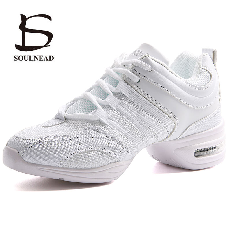 Soft Outsole Woman's Breath Jazz Hip Hop Shoes Sports Feature Dance Sneakers White Black Girls Modern Dance Shoes Practice Shoes(China)