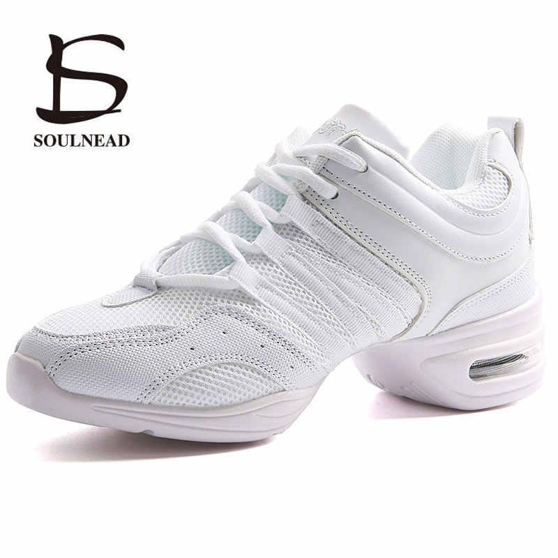 Suela suave suela de mujer aliento Jazz Hip Hop deportes zapatos de  zapatillas de baile blanco e21cd57cb12