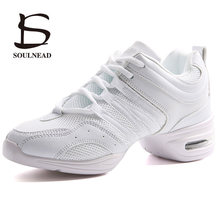7ed75f95b61 Soft Outsole Woman's Breath Jazz Hip Hop Shoes Sports Feature Dance Sneakers  White Black Girls Modern