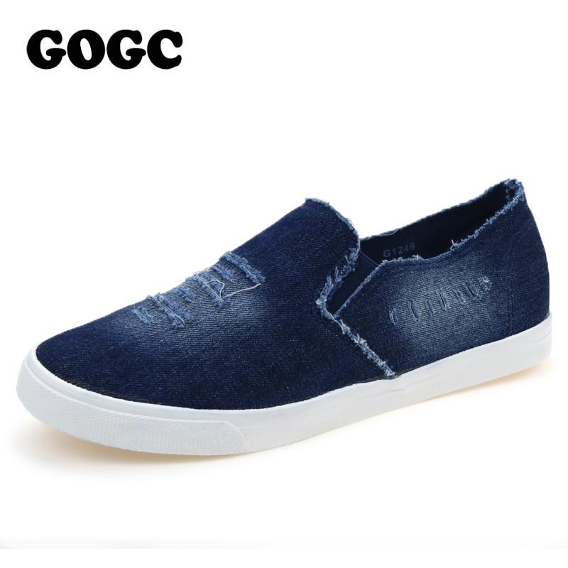 GOGC 2018 New Mens Shoes Breathable Slip on Denim Canvas Shoes Mans Footwear Casual Shoes Fashion Lovers Shoes Mens Slipony