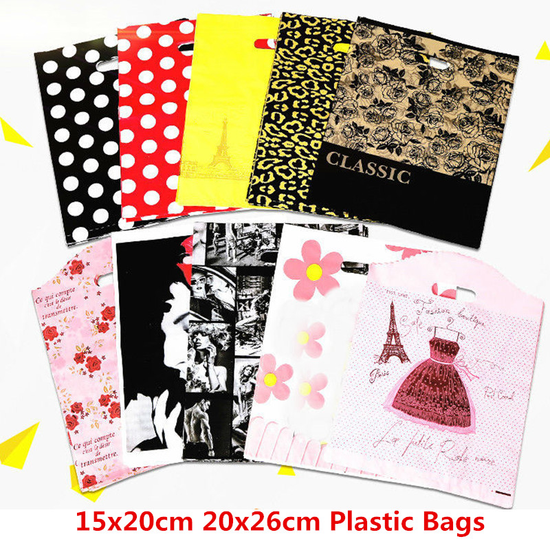 10pcs 15x20cm 20x26cm Plastic Bags Packaging Handle Party Supplies Big Plastic Bags Shops For Clothes Gift Bags With Handles Bag