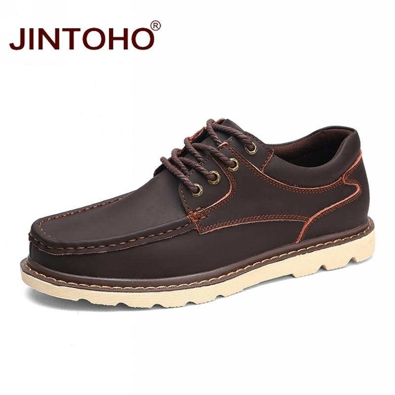 JINTOHO Big Size Men Genuine Leather Shoes Brand Fashion Casual Men Shoes Designer Leather Male Shoes Men Flats