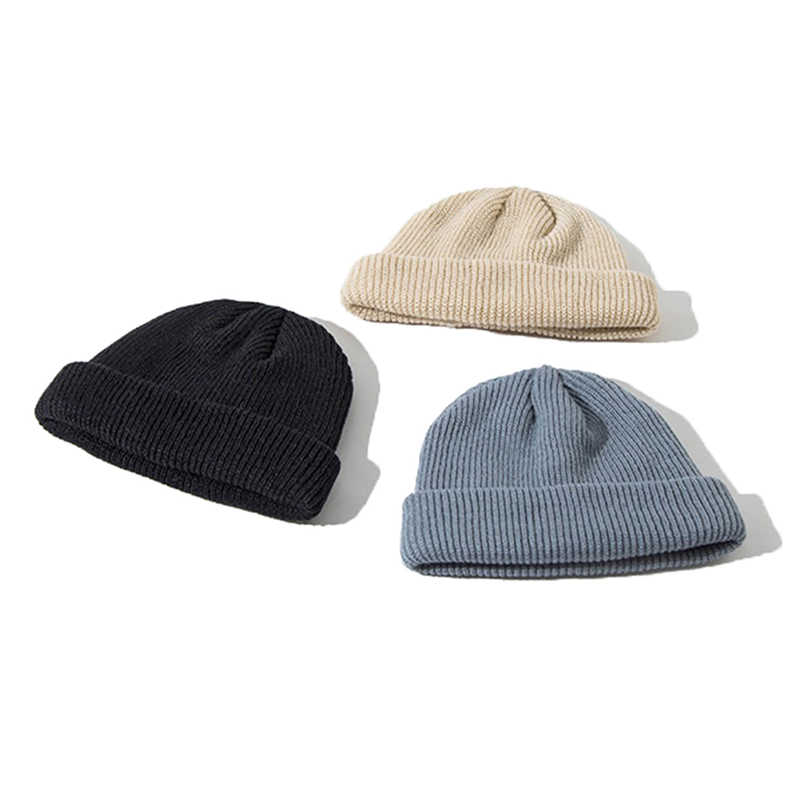 3d8d618cdc5 ... 2019 New 1PC Cotton Thick Knitting Hat Solid Warm Winter Beanie Caps  Yellow Red Black Grey