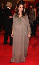 Dubai Kaftan Angelina Jolie Roter Teppich Arabeske Abendkleid Braun Chiffon Muslimischen Formale Kleid