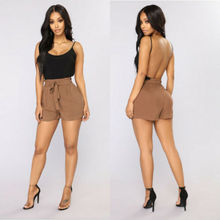 Summer Women Shorts 2019 New Casual Solid Bow Elastic High Waist Loose Size S-2XL