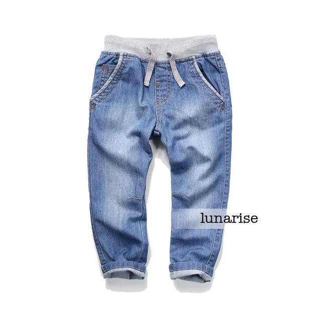 New 2016 Baby Elastic waist Denim pants Children's Water washing jeans kids soft cowboy trousers wholesale