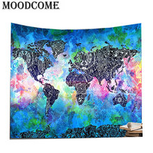 Buy cloth world map and get free shipping on aliexpress moodcome boho blanket wall hanging cloth fabric blue gumiabroncs Gallery
