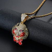 Horror Mask Pendant Necklace New Arrival Fashion Hip Hop Jewelry AAA Cubic Zirconia Iced Out Mens Necklace