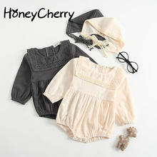 Female Babies romper Conjoined Clothes Autumn 3-6-9 Months Long Sleeves Kazakhstan And Hat Baby Girl Clothes Funny Baby Rompers все цены
