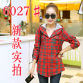 Plus Size Casual Women Shirts Full Sleeve Plaid Hooded Loose In Cotton Blouse Shirt Red Green Blue 6027