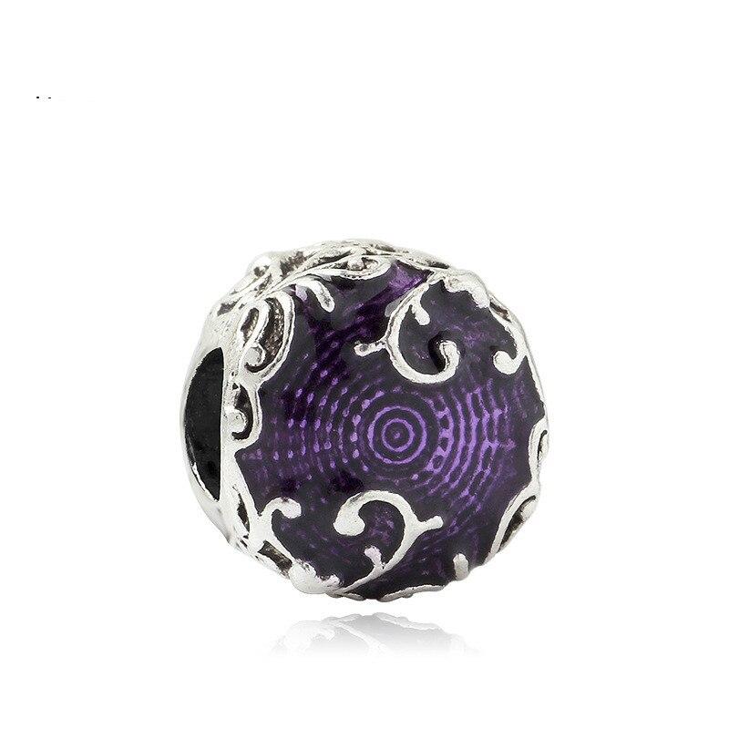5PCS-Htevak-Noble-Original-Silver-Vine-Flower-Charms-Purple-Enamel-Round-Beads-Fit-Pandora-Bracelet-DIY