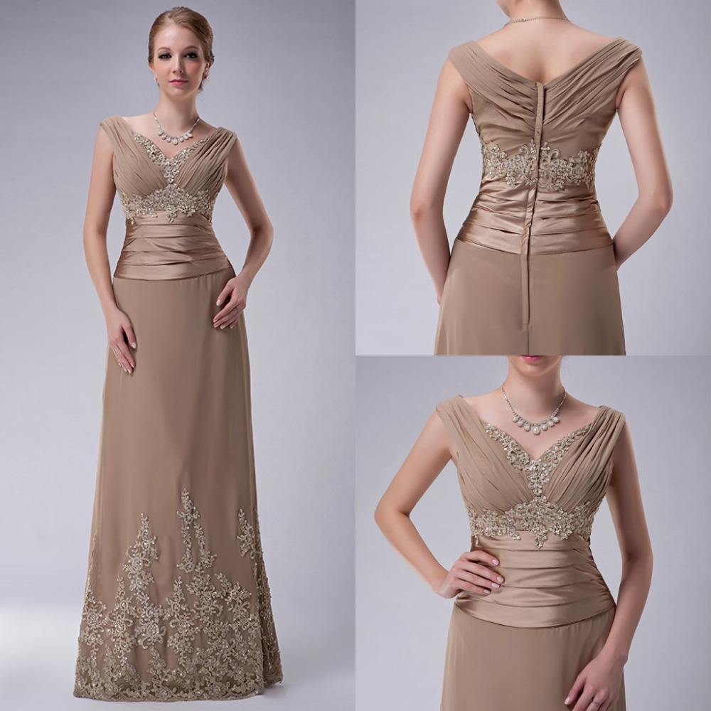 2017 Real A Line Camel Mother Of The Bride Dresses Long V Neck Straps Beaded Appliques Chiffon Bride's Mother Evening Gowns