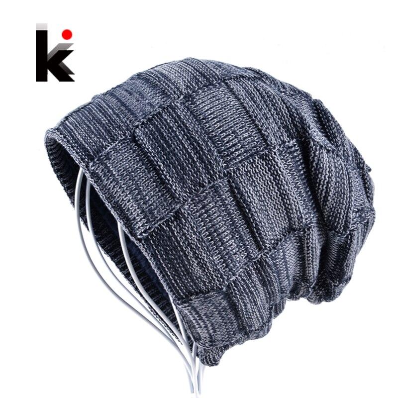 2018 Vinter mössa keps pojke mössor hattar för män stickade ull hatt ben skullies män casual kavajen varma rutiga kepsar gorro masculino