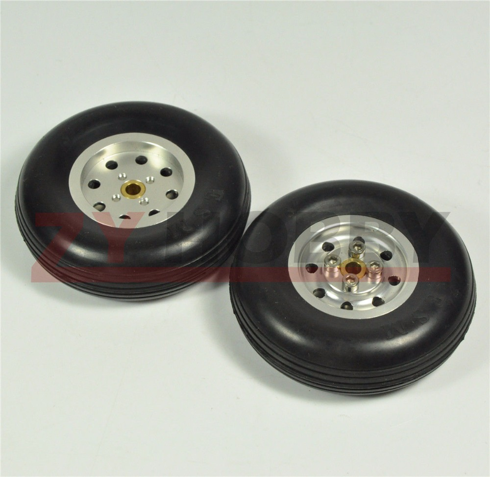 1 Pair 3 5inch Solid Rubber Wheels with Alu Hub For RC Airplane H25mm NEW