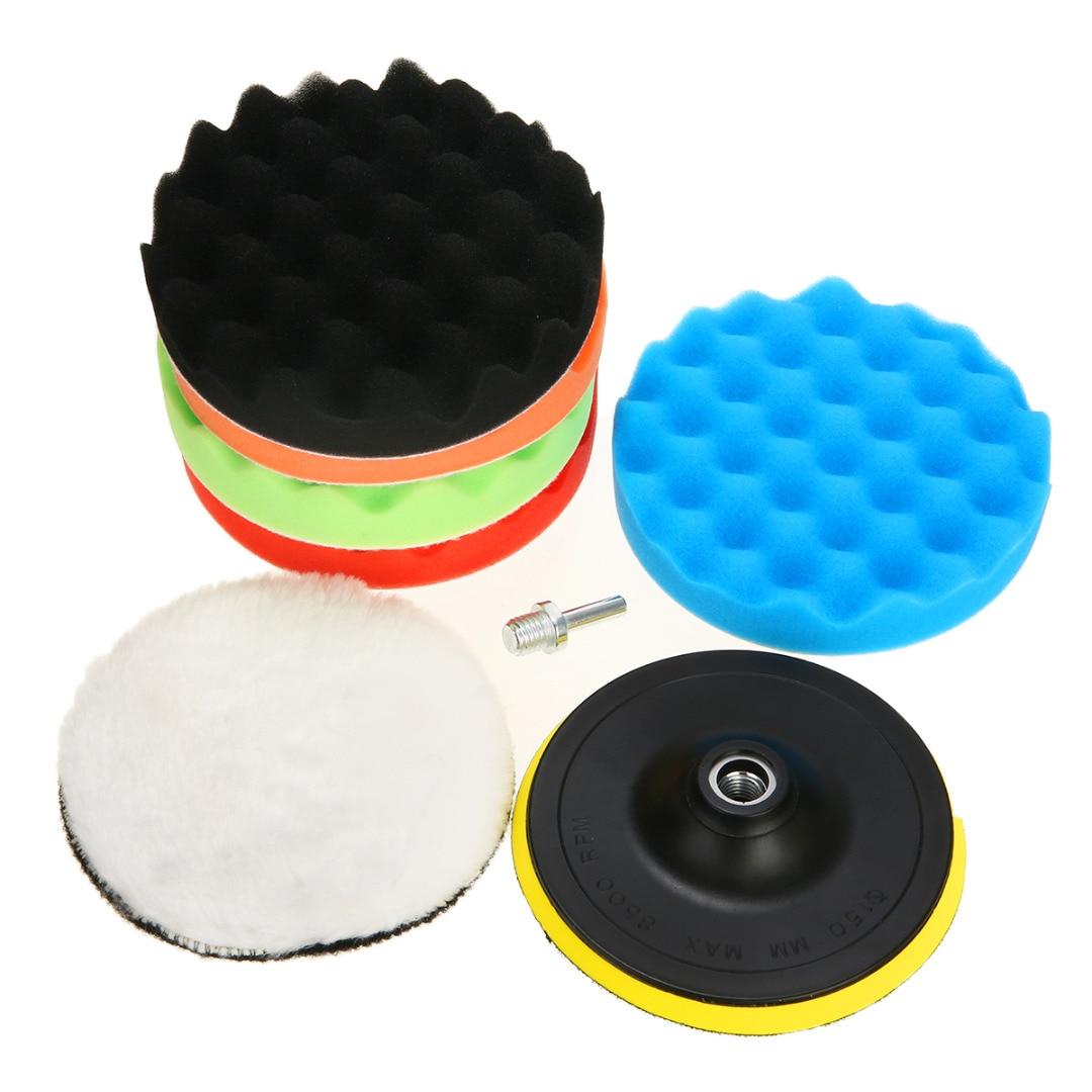 "7Pcs 3/5/6/7"" Car Polishing Pad Set Polishing Buffer Waxing Buffing Pad Drill Set Car Polishing Sponge Car Cleaning Accessories"