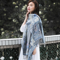 India handmade beaded boiled wool shawl scarf women dual use office air conditioning shawl for ladies warm neck